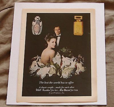"Evyan Perfumes Vintage 1980 Print Ad ""White Shoulders and The Baron"""