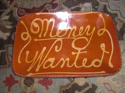 REDWARE SLIP TRAILED TRENCHER PLATE DISH MONEY WANTED 18TH C REPRO TURTLECREEK