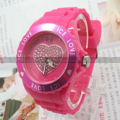1X ROSE Heart Lovely FASHION Unisex Jelly Candy Dial Quartz Wrist Silicone Watch