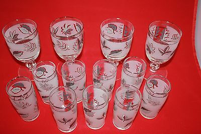 Libbey glasses, frosted, silver rim, gray leaves,  9 cordial and 4 wine glasses
