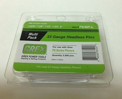 Grex Power Tools 23 Gauge Multi Pack Headless Pins - P6/MP-L (660292331017)