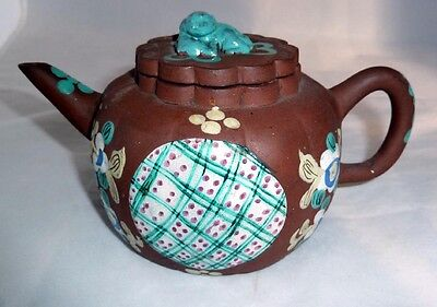 Fine Antique  Chinese Yixing Teapot With Polychrome Enamels - Qing Dynasty