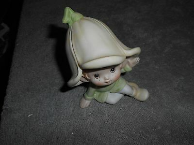 HOMCO FIGURINE  -  ELF WITH A LIGHT GREEN  HAT