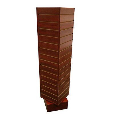 "4 Sided Rotating Slatwall Display Tower Spinner - 54"" H - Walnut / Cherry PICKUP"