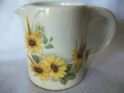 """SHAKERS & THANGS POTTERY GILMER TX 3 1/2"""" CROCK SUNFLOWERS CREAMER PITCHER"""