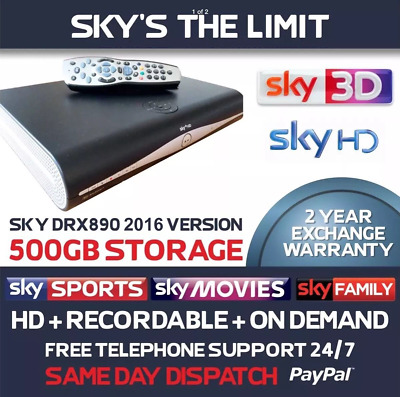 Sky Plus + HD Box, DRX890 500gb, Remote And Lead And Card, 2 Year Warranty