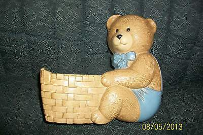 Home Interiors Homco ~ Teddy Bear Planter~Plaque~ Wall Deco~ Resin Burwood