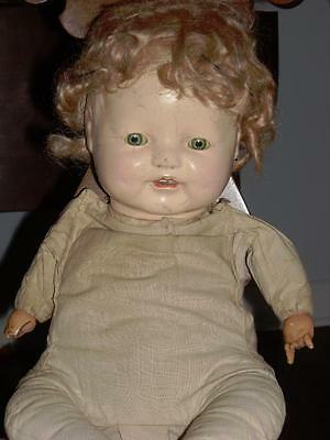 Vintage 15-Inch Composition Doll. Crier w/ Cloth Baby Body and Wig.