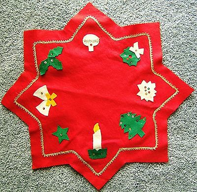 Vintage Felt Christmas Holiday Small Tabletop Cover Doily Tree Skirt Sequins