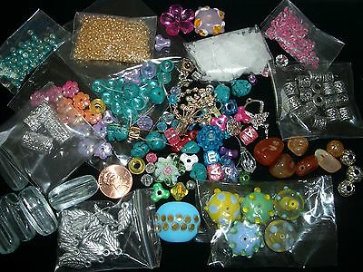 vintage jewelry beads lot brooch pearl silver lampwork seed charm plastic F9
