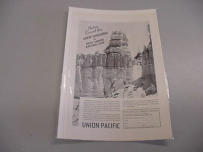 VINTAGE UNION PACIFIC B&W AD - BRYCE CANYON NATIONAL PARK - 1935