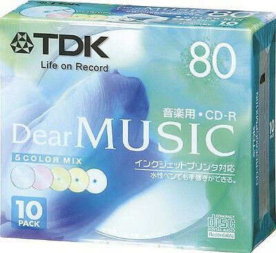 10 TDK Blank CDR Discs for Music 24x CD-R Color Mix 80min Made in JAPAN 5 Colors