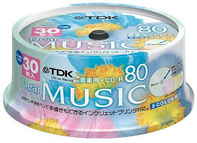 30 TDK JAPAN Blank Music CDR Discs 80min 24x CD-R CD-RDE80CPMX30PS Color Mix