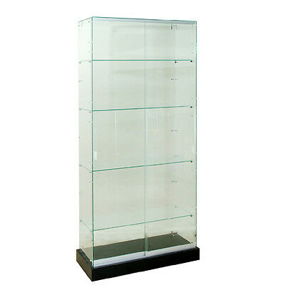 """Frameless Tempered Glass Tower Trophy Case 72"""" H x 36"""" W - New York PICKUP ONLY"""