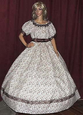 CIVIL WAR SOUTHERN BELLE VICTORIAN PIONEER Cream Brown Floral Costume Dress Gown