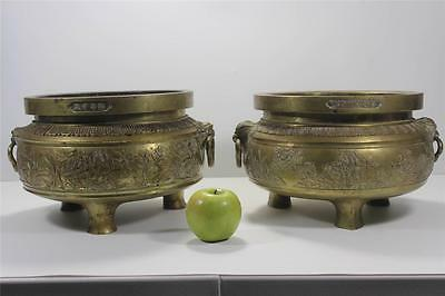 FINEST QUALITY RARE PAIR HEAVY OLD ANTIQUE CHINESE BRONZE TEMPLE CENSERS SIGNED