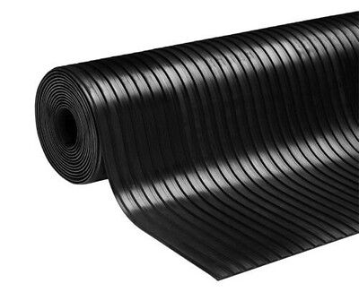 1.5m x 1m Rubber Broad Ribbed Garage Floor Matting 3mm Thickness