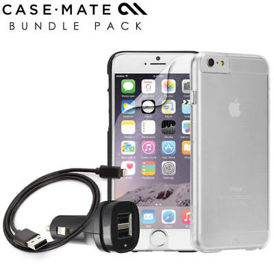 Case-Mate Accessory Bundle Pack Case Car Charger X2 SP for Apple iPhone 6 Clear