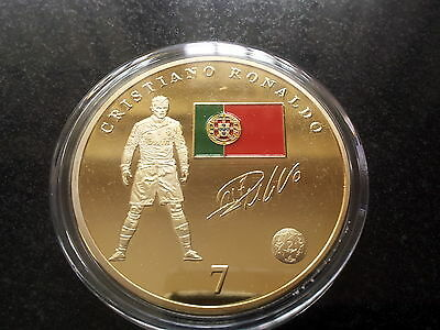 Cristiano Ronaldo Real Madrid Crest World Cup 2014 Gold Coin Portugal Signed USA