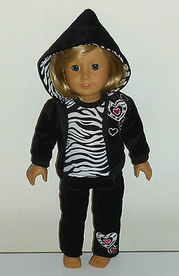 Zebra Heart Jacket Jog Sweats Outfit Fits 18' American Girl Doll Clothes