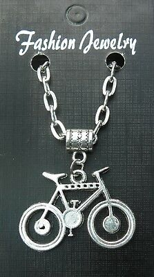 "20"" or 24 Inch Necklace & Bicycle Pendant Bike Cycle Charm Cyclist Biker Gift"