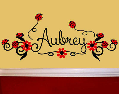 Ladybugs and Flowers PERSONALIZED Vinyl Wall Decal Art Nursery Decor Girls Room