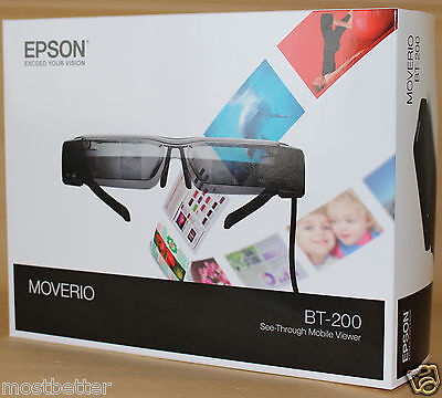 New EPSON MOVERIO BT-200 Smart Glass See-Through Mobile Viewer