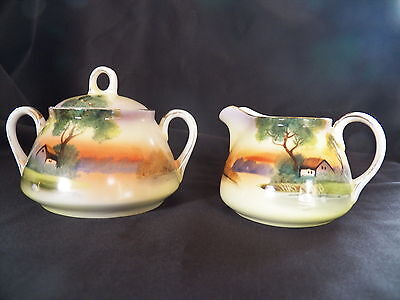 Antique Nippon, c 1890-1921  Sugar Bowl w/Lid & Creamer Set, Beautiful