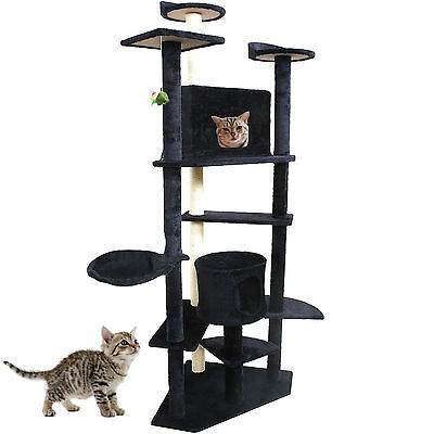 """80"""" Cat Tree Condo Furniture Scratch Post Pet House Navy New"""