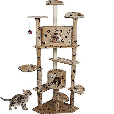 """80"""" Cat Tree Condo Furniture Scratch Post Pet House Beige Paws New"""