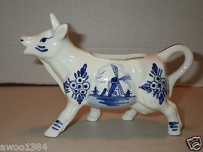 Blue Delft Cow Creamer Handpainted with Windmill - Made in Holland