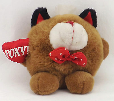 """Plush Bear Doll Toy Vintage Foxy Heart Bow Tie 5"""" Tall Good to Gift with Jewelry"""