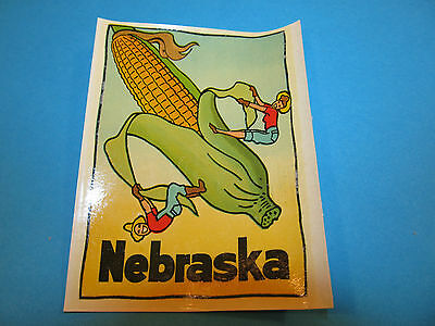 Vintage Travel Souvenir Window Suitcase Decal NEBRASKA CORNHUSKERS Sticker