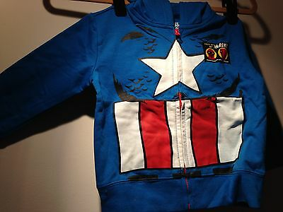 NWT! Captain America Blue Infant/Toddler Boys Hoodie Sweatshirt with Eye Mask!