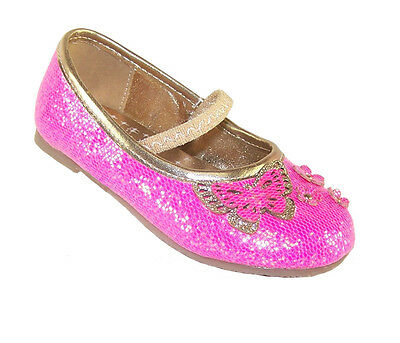 Girls Infant Child New Pink Sparkly Party Ballerinas Shoes Bridesmaid Dress-up