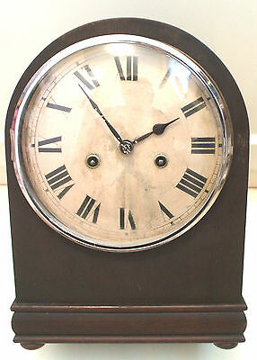 "HAC German Oak case Striking Mantle Clock C1900, 12""H 9""W 5.5""D"