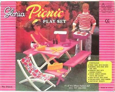 Gloria, Barbie Doll Furniture, Picnic Play Set