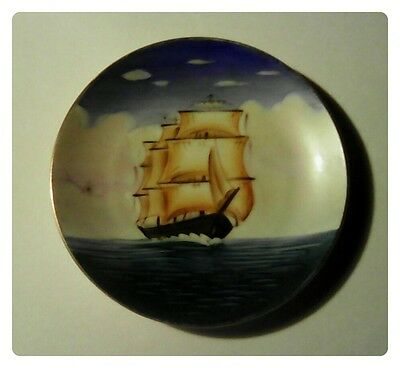 Mast Sailing Ship Decorative Plate by Aiyo China, Made in Occupied Japan