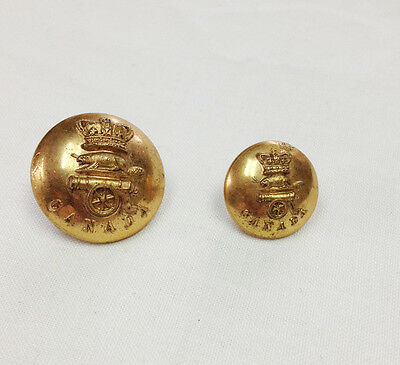 Victorian Pre 1894 Canadian Field & Garrison Artillery Button Pair with Letter