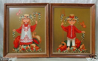 """Nice Pair of Signed Paintings """"Harvest Time"""" w/ Vintage Style Wood Frames-19x23"""""""