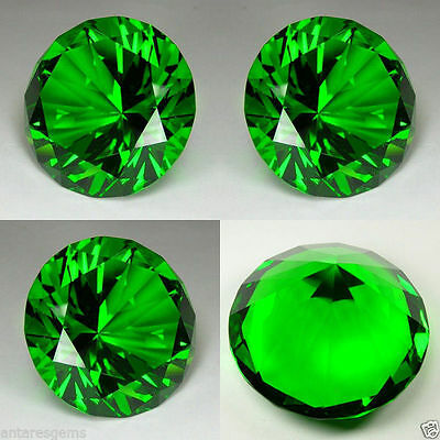 IF 180 cts Huge Brilliant Round (40 mm) Lab Chrome Green Emerald Crystal AAA N46