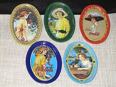 Vintage 1973 Coca Cola Oval Tin Tip Trays Coasters Lady Prints Collectibles