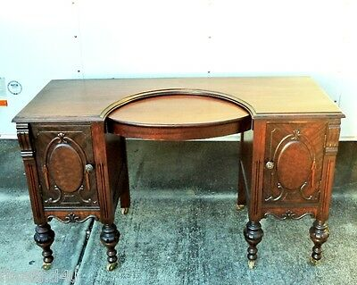 VTG MAHOGANY VANITY REFINISHED TOP INSET WITH TWO SIDE CABINETS