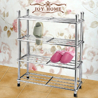 Capacity 12 Pairs 4 Tiers Fully Stainless Steel Shoe Stackable Storage Rack