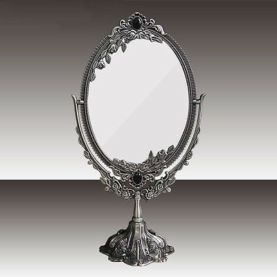 Antique Two Sided Swivel Oval Desk Metel Embossed Roses Standing Makeup Mirror S