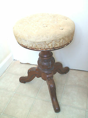 "Victorian Walnut Carved  Upholstered Revolving Piano Stool On 3 Feet 22""H"