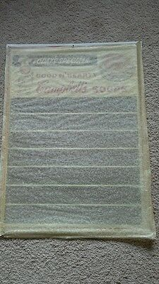 1950's NEW OLD STOCK Campbell's Soup tin menu sign with original packing paper