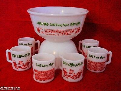HAZEL ATLAS AULD SONG LYRICS TOM & JERRY PUNCH BOWL & 6 mugs punch cups Minty