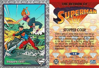 1993 THE RETURN OF SUPERMAN BASE CARD # 18 STOPPED COLD !