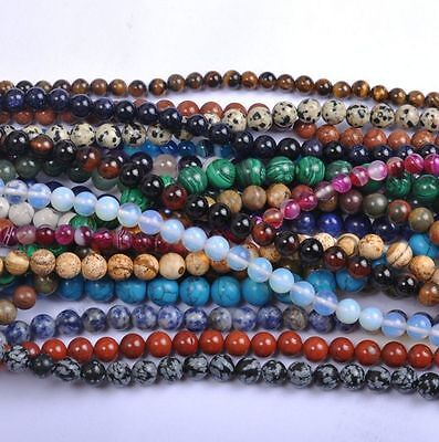 Wholesale 40PCS Natural Stone Gemstone Round Spacer Charm Loose Beads 4MM